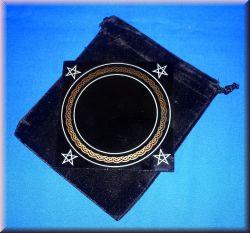 Schwarzer Spiegel klein 10 x 10 cm mit Beutel